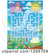 Clipart Of A Bird Sun And Nest Maze Royalty Free Vector Illustration