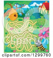 Clipart Of A Bee And Hive Maze Royalty Free Vector Illustration