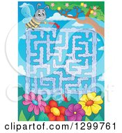 Clipart Of A Bee And Flower Maze Royalty Free Vector Illustration by visekart