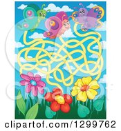 Clipart Of A Butterfly And Flower Maze Royalty Free Vector Illustration by visekart