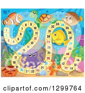 Clipart Of A Board Game With Sea Creatures Royalty Free Vector Illustration by visekart