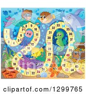 Clipart Of A Board Game With A Snorkeling Boy And Sea Creatures Royalty Free Vector Illustration