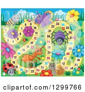 Clipart Of A Board Game With Insects And Flowers Royalty Free Vector Illustration by visekart