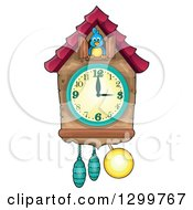 Clipart Of A Bird In A Cuckoo Clock Royalty Free Vector Illustration by visekart