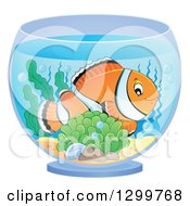 Clipart Of A Happy Clownfish And Anemone In A Bowl Royalty Free Vector Illustration