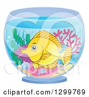 Clipart Of A Happy Yellow Tang Fish And Corals In A Bowl Royalty Free Vector Illustration