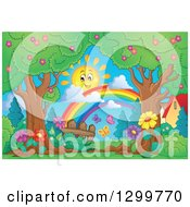 Clipart Of A Happy Spring Time Sun And Rainbow Over Trees Butterflies And Flowers Royalty Free Vector Illustration