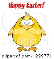 Cartoon Yellow Chick And Happy Easter Greeting