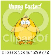 Cartoon Yellow Chick And Happy Easter Greeting On Green