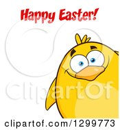 Cartoon Yellow Chick Under A Happy Easter Greeting