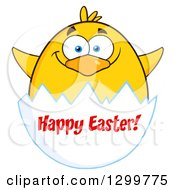 Cartoon Yellow Chick And Happy Easter Greeting On An Egg Shell