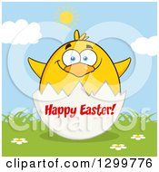 Cartoon Yellow Chick And Happy Easter Greeting On An Egg Shell On A Sunny Day 2