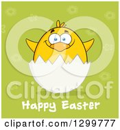 Cartoon Yellow Chick And Happy Easter Greeting In An Egg Shell Over Green