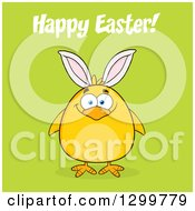 Clipart Of A Cartoon Yellow Chick Wearing Bunny Ears With Happy Easter Text On Green Royalty Free Vector Illustration