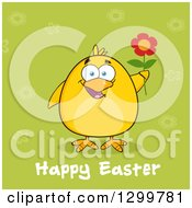 Cartoon Yellow Chick Holding A Flower Over Green With Happy Easter Text