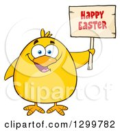 Cartoon Yellow Chick Holding A Happy Easter Sign
