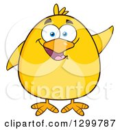 Clipart Of A Cartoon Yellow Chick Waving Royalty Free Vector Illustration by Hit Toon
