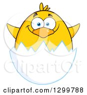 Clipart Of A Cartoon Yellow Chick Hatching Royalty Free Vector Illustration by Hit Toon
