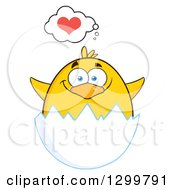 Cartoon Yellow Chick Hatching And Thinking About Love