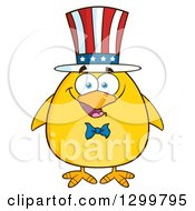 Cartoon Patriotic Yellow Chick Wearing An American Hat