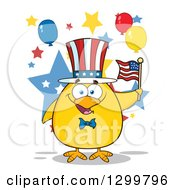 Cartoon Patriotic Yellow Chick Holding An American Flag