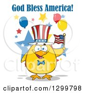 Clipart Of A Cartoon Patriotic Yellow Chick Holding An American Flag Under God Bless America Text Royalty Free Vector Illustration