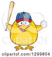 Clipart Of A Cartoon Yellow Chick Wearing A Baseball Cap And Holding A Ball And Bat Royalty Free Vector Illustration by Hit Toon