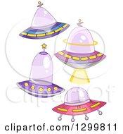 Clipart Of Cartoon Flying Ufos Royalty Free Vector Illustration