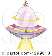 Clipart Of A Cartoon Flying Ufo Shining A Beam Royalty Free Vector Illustration by BNP Design Studio