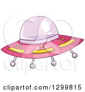 Clipart Of A Cartoon Pink Flying Ufo Royalty Free Vector Illustration by BNP Design Studio