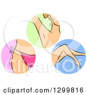 Clipart Of Round Shaving Icons Of A Womans Bikini Line Under Arm And Legs Royalty Free Vector Illustration