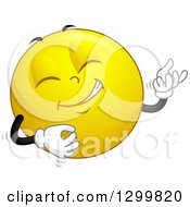 Clipart Of A Cartoon Yellow Smiley Face Emoticon Playing An Air Guitar Royalty Free Vector Illustration