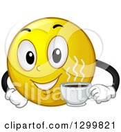 Clipart Of A Cartoon Yellow Smiley Face Emoticon Holding A Cup Of Coffee Royalty Free Vector Illustration by BNP Design Studio