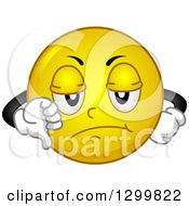 Clipart Of A Cartoon Yellow Smiley Face Emoticon Giving A Thumb Down Royalty Free Vector Illustration