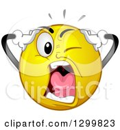 Clipart Of A Cartoon Yellow Smiley Face Emoticon Screaming In Exasperatio Royalty Free Vector Illustration
