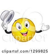 Clipart Of A Cartoon Yellow Smiley Face Emoticon Welcoming And Holding His Hat Royalty Free Vector Illustration