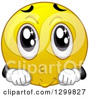 Clipart Of A Cartoon Yellow Smiley Face Emoticon With Big Puppy Dog Eyes Royalty Free Vector Illustration