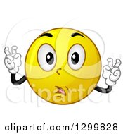 Clipart Of A Cartoon Yellow Smiley Face Emoticon Doing Air Quotes Royalty Free Vector Illustration by BNP Design Studio