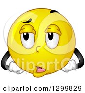Clipart Of A Cartoon Yellow Smiley Face Emoticon Rolling His Eyes Royalty Free Vector Illustration