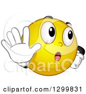 Clipart Of A Cartoon Yellow Smiley Face Emoticon Gesturing Talk To The Hand Royalty Free Vector Illustration