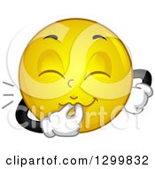 Clipart Of A Cartoon Yellow Smiley Face Emoticon Whistling Royalty Free Vector Illustration