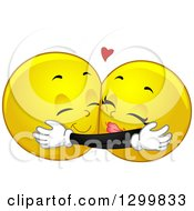 Clipart Of A Cartoon Yellow Smiley Face Emoticon Couple Hugging Royalty Free Vector Illustration