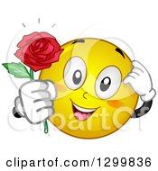 Clipart Of A Cartoon Yellow Smiley Face Emoticon Giving A Rose Royalty Free Vector Illustration by BNP Design Studio