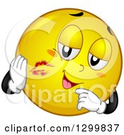 Clipart Of A Cartoon Yellow Smiley Face Emoticon With Lipstick Kisses Royalty Free Vector Illustration