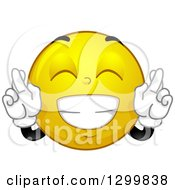 Clipart Of A Cartoon Yellow Smiley Face Emoticon Crossing Fingers For Good Luck Royalty Free Vector Illustration