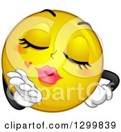 Clipart Of A Cartoon Yellow Smiley Face Emoticon Female Blowing A Kiss Royalty Free Vector Illustration