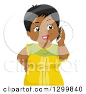 Clipart Of A Cartoon Senior Black Woman Talking On A Cell Phone Royalty Free Vector Illustration