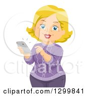 Clipart Of A Cartoon Senior Blond White Woman Answering A Cell Phone Call Royalty Free Vector Illustration