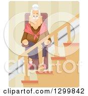Cartoon Senior White Woman Using A Wheelchair Lift Up The Stairs