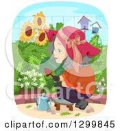 Clipart Of A Cartoon Senior White Woman Tending To Her Garden Royalty Free Vector Illustration by BNP Design Studio